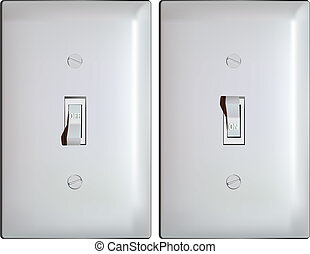 Electric light switch in ON and OFF positions - illustration