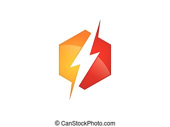 electric lightning bold icon vector logo