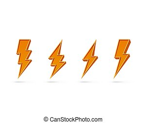 Electric lightning, set of icons on a white background.