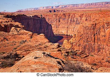 Electric Lines Over Colorado River Glen Canyon Dam Arizona
