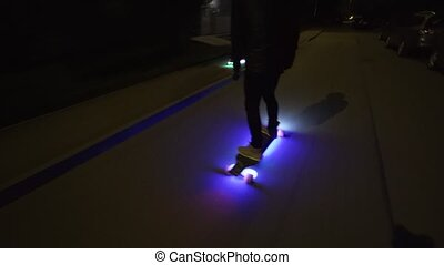 Electric Longboard ride in night city with led and motors...