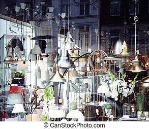 electric-, luz, janela, lustre, interior, store.