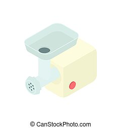 Electric meat grinder icon, cartoon style