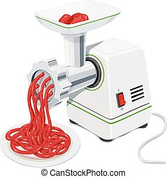 Electric Meat grinder with mincemeat. Kitchen equipment