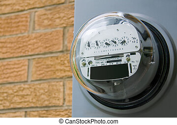 Electric Meter - An electric meter on the side of a...