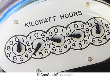 Close-up of electric meter face showing kilowatt hours.