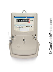 Electric meter - electric meter isolated on a white...