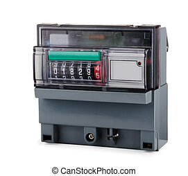 Electric meter - Grey plastic electric meter isolated on...
