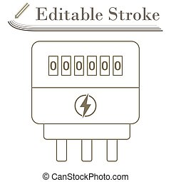 Electric Meter Icon. Editable Stroke Simple Design. Vector Illustration.