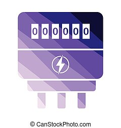 Electric meter icon. Flat color design. Vector illustration.