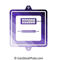 Electric Meter Icon. Flat Color Ladder Design. Vector Illustration.