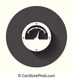 Electric meter icon. Power meter flat vector illustration with long shadow.