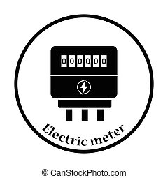 Electric meter icon. Thin circle design. Vector illustration.
