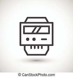 Electric meter line icon isolated on grey. Vector illustration
