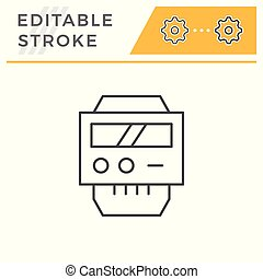 Electric meter line icon isolated on white. Editable stroke. Vector illustration