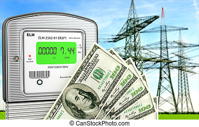 Electric meter with dollars. The concept of economy. 3d illustration.