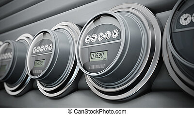Electric meters in a row - Gray electric meters standing in...