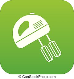 Electric mixer icon digital green