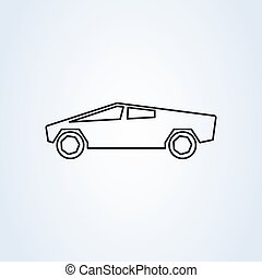 electric modern car. line art Simple vector modern icon design illustration.