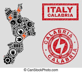 Electric Mosaic Calabria Region Map and Snowflakes and...
