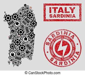Electric Mosaic Sardinia Map and Snowflakes and Distress...