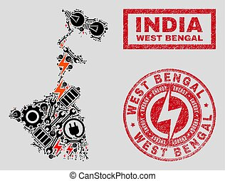 Electric Mosaic West Bengal State Map and Snowflakes and Textured Seals