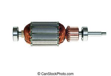 Electric motor rotor isolated white background