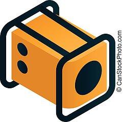 Electric motor generator icon, isometric style