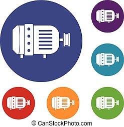 Electric motor icons set