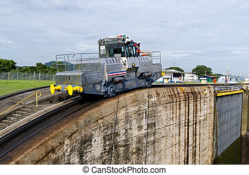 Electric mule guides ships through Panama Canal