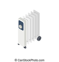 Electric oil heater icon, isometric 3d style