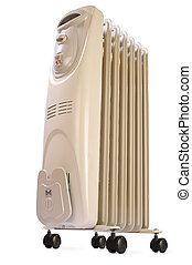 Electric oil heater on white