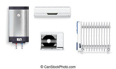 Electric oil radiator, air conditioning, water heater with chrome metal of front side, oil filled heater isolated. Set icons of household appliances on a white background. 3D illustration.