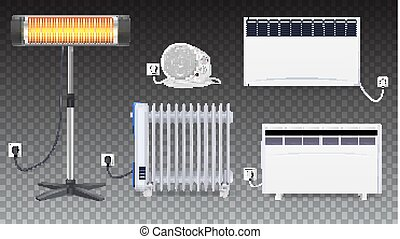 Electric oil radiator, heater with fan, panel of radiator, quartz halogen heater with the glowing lamp. Appliances for space heating in the interior of room. Set icons of on transparent background