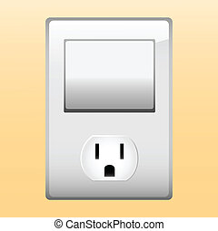 Electric outlet and light switch. Editable Vector Image.