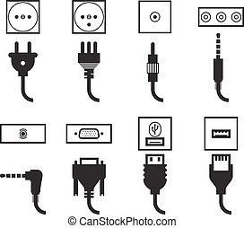 Electric outlet and plug icons set. Energy socket, jack...