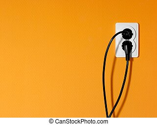 Electric outlet - Electric sockets and cables, orange wall