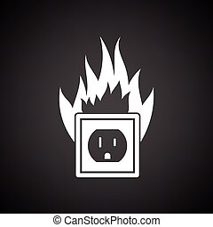 Electric outlet fire icon. Black background with white....