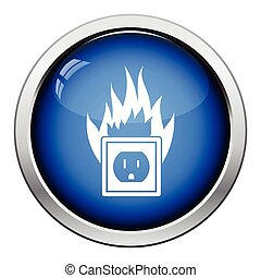 Electric outlet fire icon. Glossy button design. Vector...