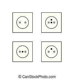 electric outlet icons- vector illustration