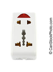 Electric outlet plug converter on white background.