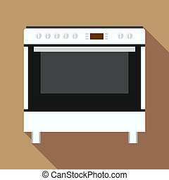 Electric oven icon, flat style