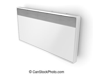 Electric panel heater on white wall