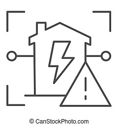 Electric panel in house warning thin line icon, smart home ...