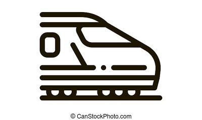 electric passenger train Icon Animation. black electric passenger train animated icon on white background