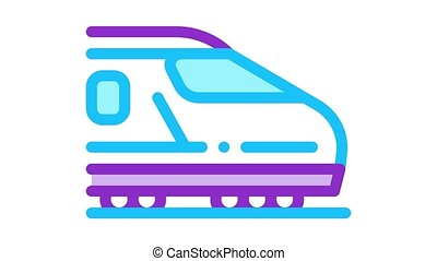 electric passenger train Icon Animation. color electric passenger train animated icon on white background