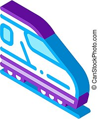 electric passenger train isometric icon vector illustration