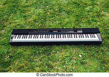 electric piano on green grass background