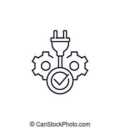 electric plug and check mark, line icon