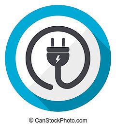 Electric plug blue flat design web icon